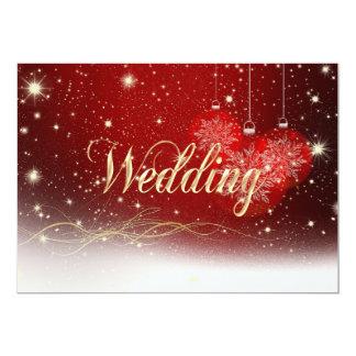 Faire-part de mariage de Noël de rouge et d'or