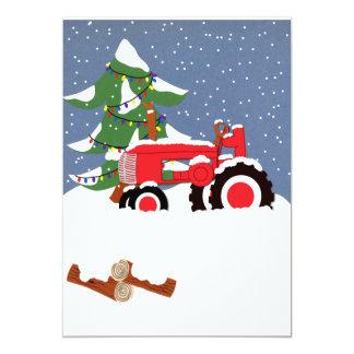 Faire-part de mariage de Noël de tracteur