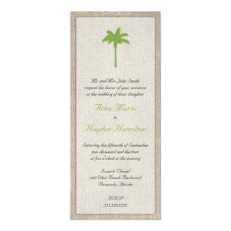 Faire-part de mariage de palmier et de toile de