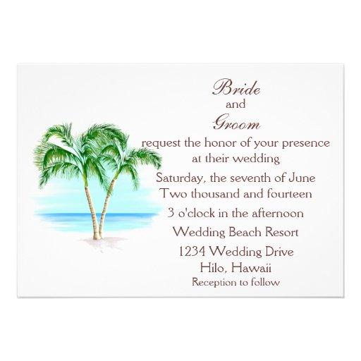 Faire-part de mariage de plage et de palmiers