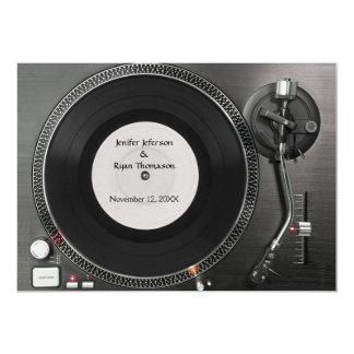 Faire-part de mariage de plaque tournante du DJ