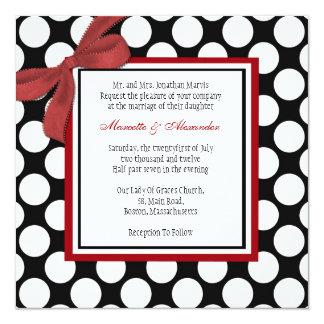 Faire-part de mariage de point de polka de carton d'invitation  13,33 cm