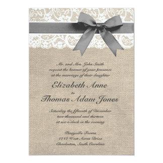 Faire-part de mariage de regard de dentelle carton d'invitation  12,7 cm x 17,78 cm
