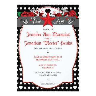 Faire-part de mariage de rockabilly de tatouage de carton d'invitation  12,7 cm x 17,78 cm
