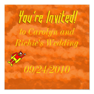 Faire-part de mariage de super héros - orange