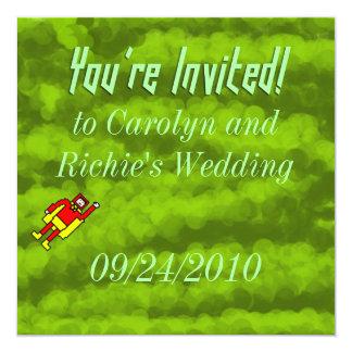 Faire-part de mariage de super héros - vert