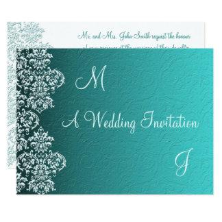 Faire-part de mariage de turquoise de damassé