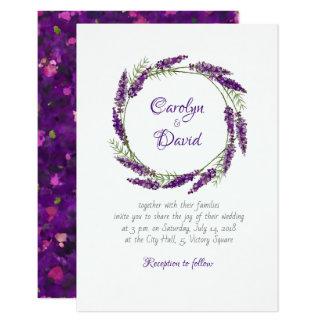 Faire-part de mariage de violette de lavander de
