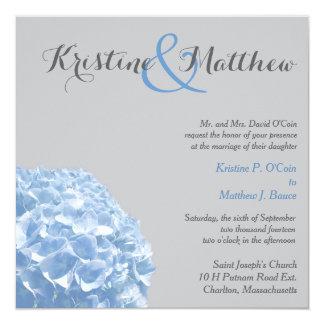 Faire-part de mariage d'hortensia - bleu et gris