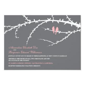 Faire-part de mariage d'inséparables (rose)