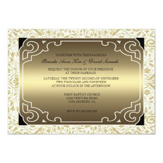 Faire-part de mariage d'or d'art déco des années