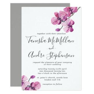 Faire-part de mariage d'orchidées d'aquarelle de