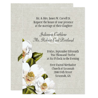 Faire-part de mariage du sud chic de magnolias de