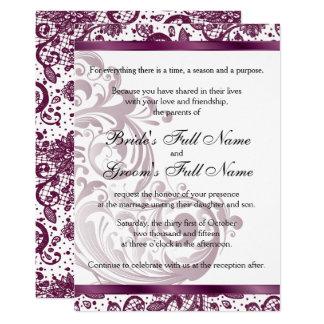 Faire-part de mariage élégant - 5x7 pourpre