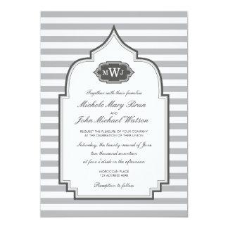 Faire-part de mariage élégant de blanc gris de