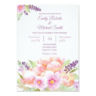Faire-part de mariage élégant de bouquet floral