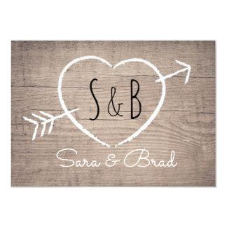 Faire-part de mariage élégant de coeur en bois