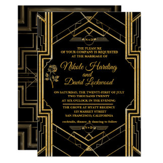 Faire-part de mariage élégant de Gatsby d'art déco