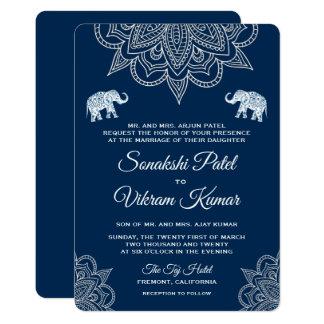 Faire-part de mariage élégant d'Indien de henné de