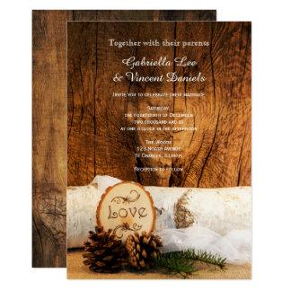 Faire-part de mariage en bois de bouleau rustique