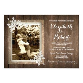 Faire-part de mariage en bois rustique de photo de