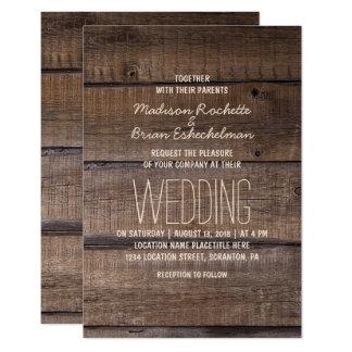 Faire-part de mariage en bois rustique élégant de
