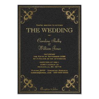 Faire-part de mariage en cuir vintage de livre