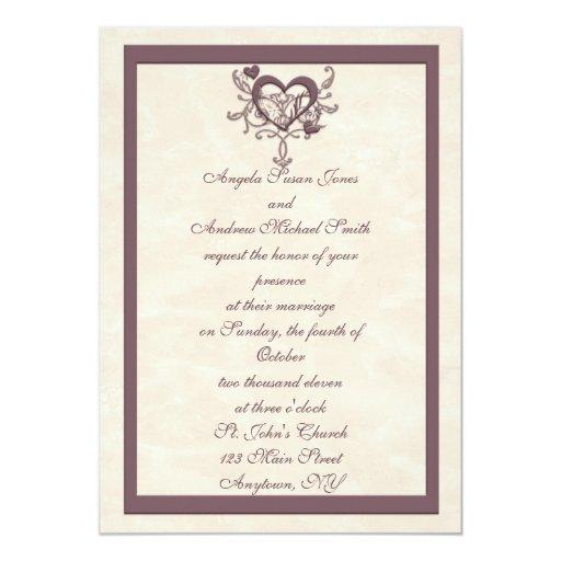 Faire-part de mariage en ivoire de coeur de prune carton d'invitation  12,7 cm x 17,78 cm