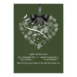 Faire-part de mariage essoufflé--vert forêt