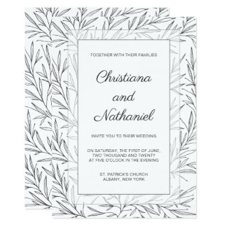 Faire-part de mariage floral blanc noir élégant