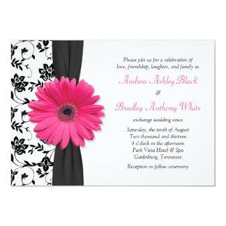 Faire-part de mariage floral blanc noir rose de carton d'invitation  12,7 cm x 17,78 cm