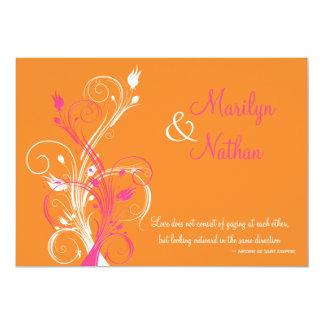 Faire-part de mariage floral blanc rose orange
