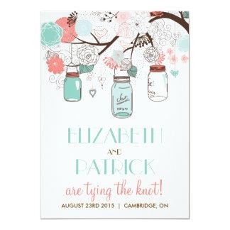 Faire-part de mariage floral bleu et de corail de carton d'invitation  12,7 cm x 17,78 cm