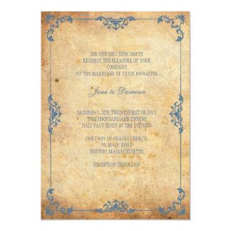 Faire-part de mariage floral bleu vintage