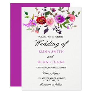 Faire-part de mariage floral d'aquarelle rose