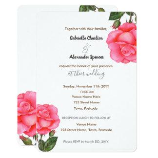 Faire-part de mariage floral d'art de rose de rose