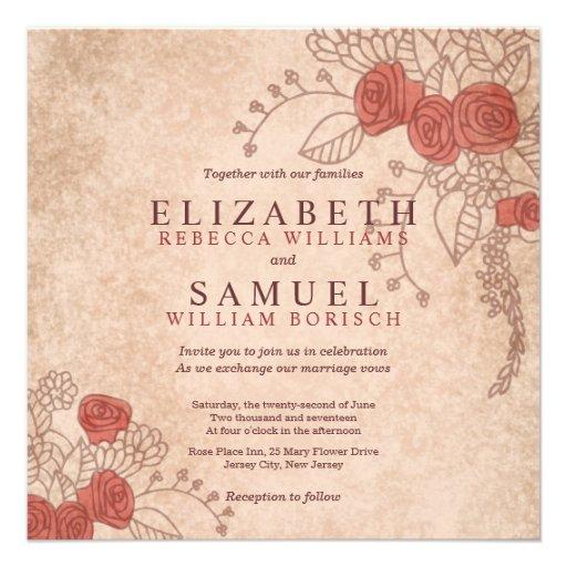 Faire-part de mariage floral de beaux roses vintag