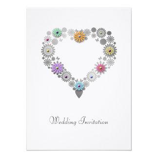 Faire-part de mariage floral de coeur