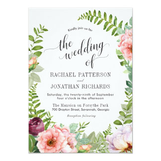 Faire-part de mariage floral de guirlande