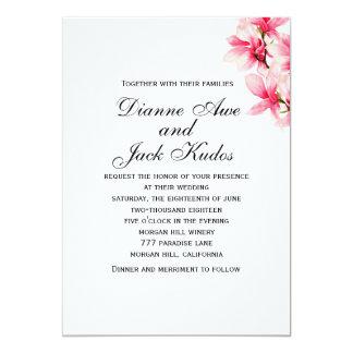 Faire-part de mariage floral de magnolia rose