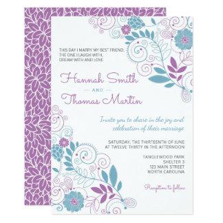 Faire-part de mariage floral de ressort lunatique