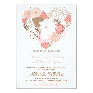 Faire-part de mariage floral de rose et de coeur carton d'invitation  12,7 cm x 17,78 cm