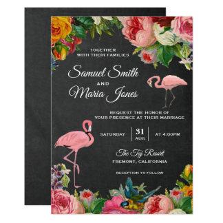 Faire-part de mariage floral de tableau de flamant