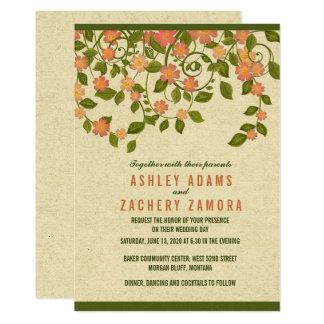 Faire-part de mariage floral doux vert de rouleau