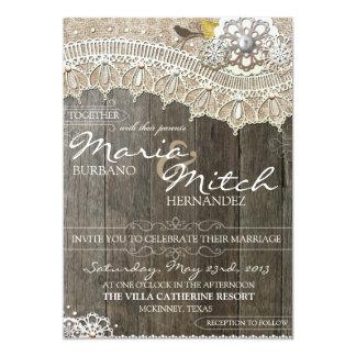 Faire-part de mariage floral en bois rustique et carton d'invitation  12,7 cm x 17,78 cm