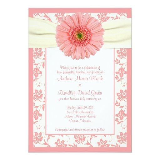 Faire-part de mariage floral en ivoire de Gerbera Carton D'invitation 12,7 Cm X 17,78 Cm