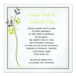 Faire-part de mariage floral gris Chartreuse de Carton D'invitation 13,33 Cm