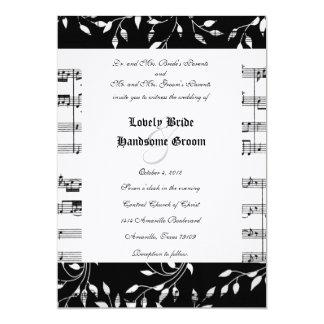 Faire-part de mariage floral noir de musique