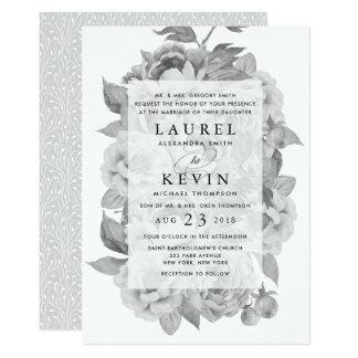 Faire-part de mariage floral noir et blanc vintage
