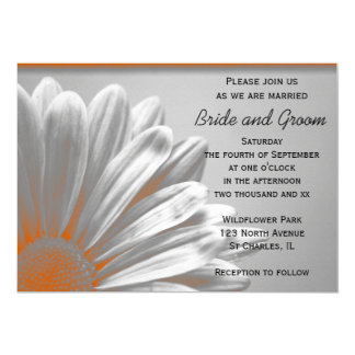 Faire-part de mariage floral orange de points
